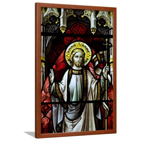 Beautiful Stained Glass Window Detail in 15Th Century Saxon Church of Resurrected Jesus Framed Print Wall Art By - Century Stained Glass