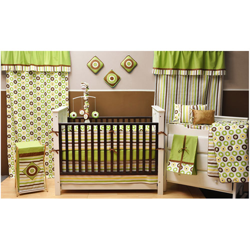 Bacati - Mod Dots and Stripes Green/Yellow/Chocolate Unisex 10-Piece Nursery-in-a-Bag Crib Bedding Set 100% Cotton Percale Unisex Crib Bedding Set with Bumper Pad for US standard Cribs