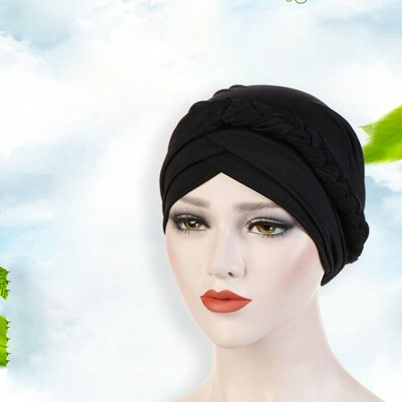 KABOER New Style Muslim Milk Silk Head Scarf Women Turban Cap Black Hat Braid  Stock