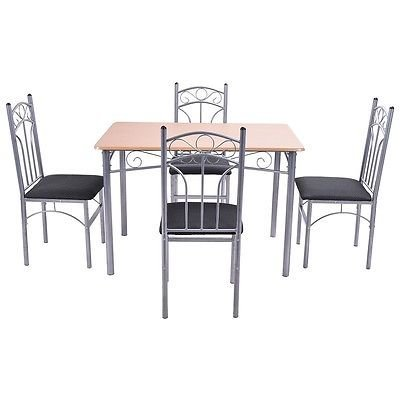At Home Kitchen Chairs.5pcs Wood And Metal Dining Set Table And 4 Chairs Home Kitchen Modern Furniture