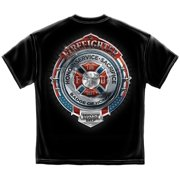 Black Cotton Fire Honor Service Sacrifice Chrome Badge T-Shirt