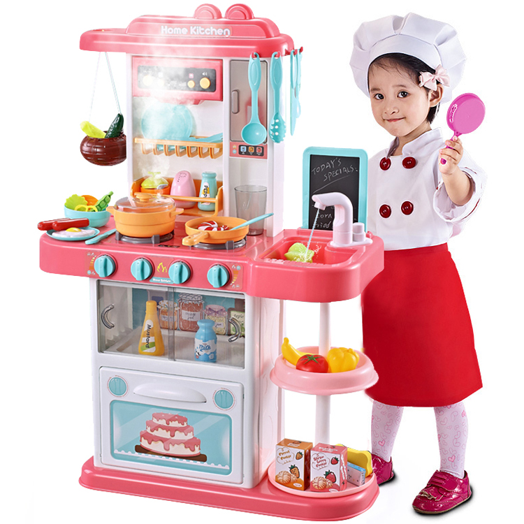 Kitchen Set For Kids Pretend Play Pink Cook W Sound Light Real Spray Drawing And Water Flow 43 Piece Accessory Play Set Walmart Com Walmart Com