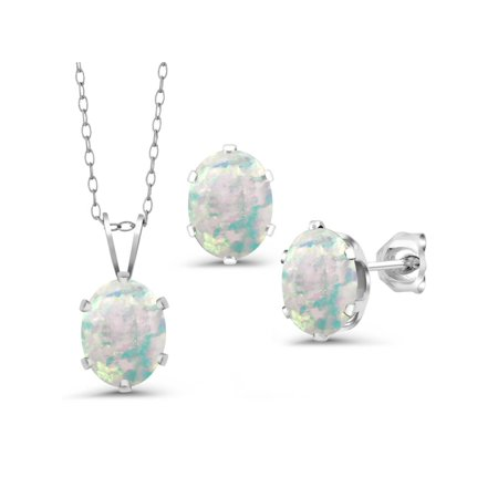 Cabochon Jewelry Set - 3.15 Ct Cabochon White Simulated Opal 925 Silver Pendant Earrings Set With Chain