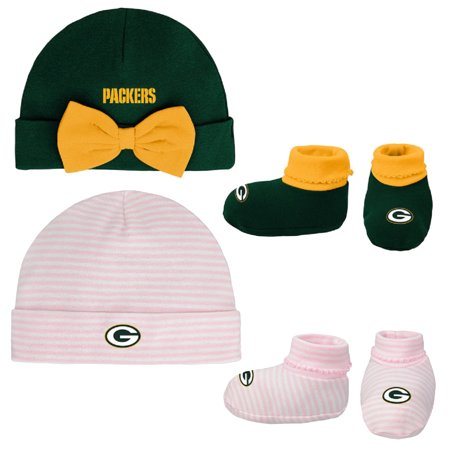 Girls Newborn & Infant Green/Pink Green Bay Packers Cuffed Knit Hat & Booties Set - Newborn
