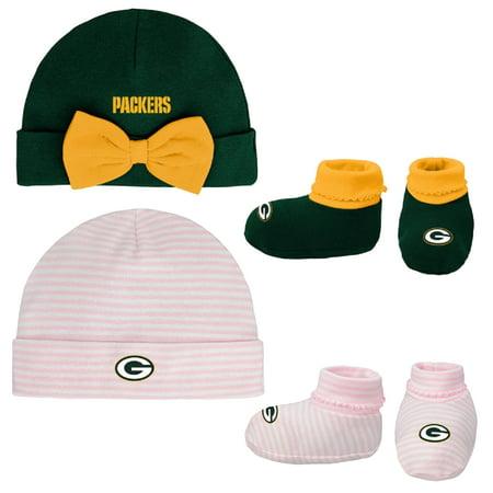 Girls Newborn & Infant Green/Pink Green Bay Packers Cuffed Knit Hat & Booties Set - Newborn (Bday Hat)