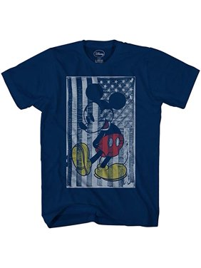 Disney Mickey Mouse T Shirt American Flag Adult Men's Graphic Tee Humor Large