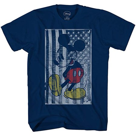 Disney Mickey Mouse T Shirt American Flag Adult Men's Graphic Tee Humor Large - Adult Disney Shirts