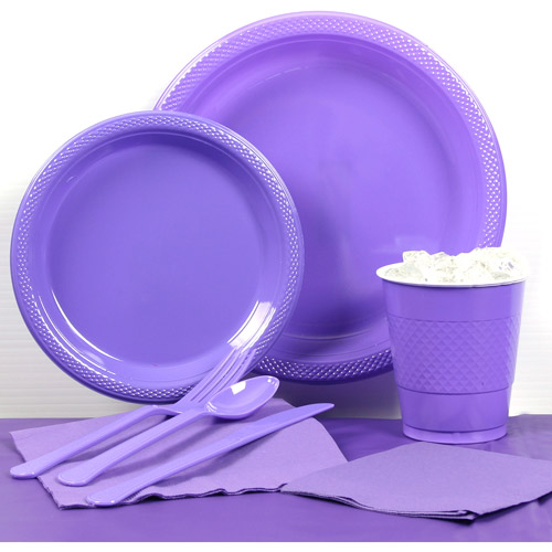 Purple Plastic Tableware Party Pack for 20