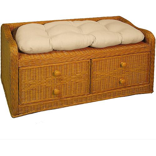 2 Drawer Bench & Cushion-almond Wicker