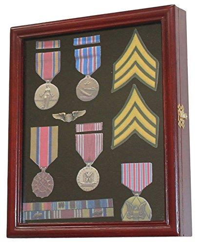 Unlighted Display Case (Display Case Cabinet Shadow Box for Military Medals, Pins, Patches, Insignia, Ribbons )