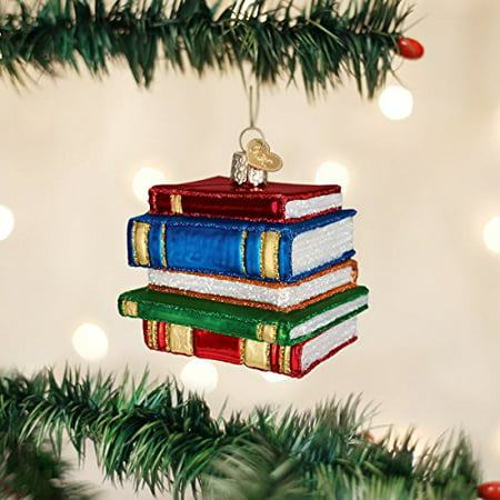 Old World Christmas Stack Of Books Glass Blown