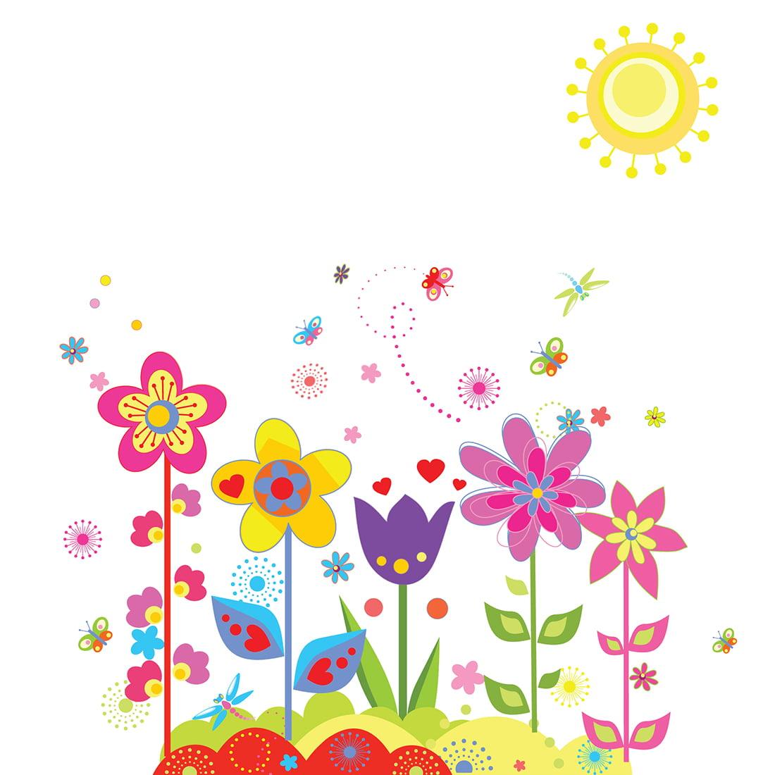 Window Room Art Decal PVC Flower Sun  Wall Sticker Wallpaper 70 x 50cm