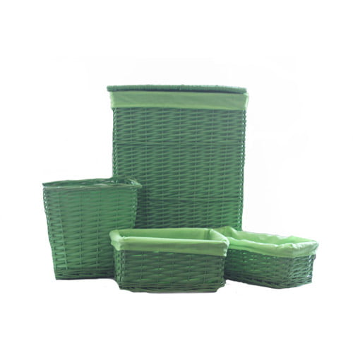 Baum 4-Piece Willow Lined Hamper and Storage Set, Green by Generic