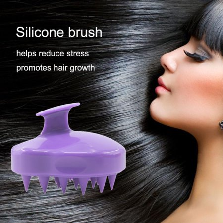 Jeobest 1PC Massage Comb Brush - Shampoo Brush Hair Scalp Massager - Handheld Silicone Hair Scalp Shampoo Massage Brush Washing Shower Head Hair Comb Mini Head Massage Comb Purple - Silicone Hair Brush