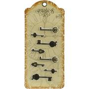 "Staples Ornate Metal Keys 8/Pkg-Antique Brass 1.375"" To 2.125"""