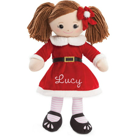 - Personalized Christmas Rag Doll - Rag Doll With Santa Dress