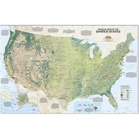 Maps United States Physical Laminated | Walmart Canada