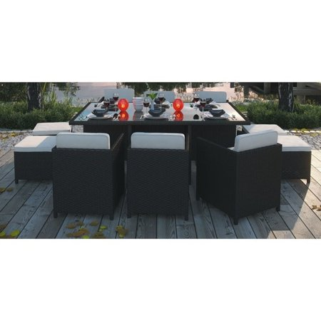 Image of Hawthorne Collection Reversal 11 Piece Outdoor Dining Set in Espresso and White