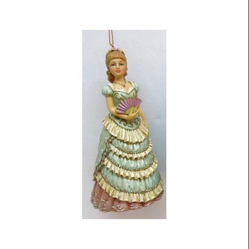 "5"" Victorian Inspirations Lady in Blue with Fan Glitter Christmas Ornament"