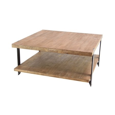 Decmode Industrial 40 Inch Square Black Metal & Natural Wood Coffee Table w/ Shelf