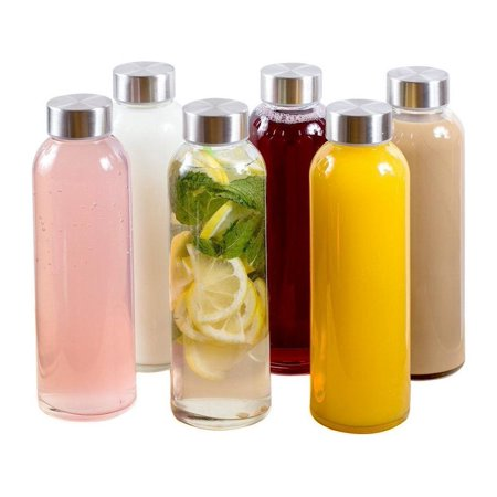 Estilo Glass Water Bottles 18 oz, Stainless Steel Cap - Case of 6