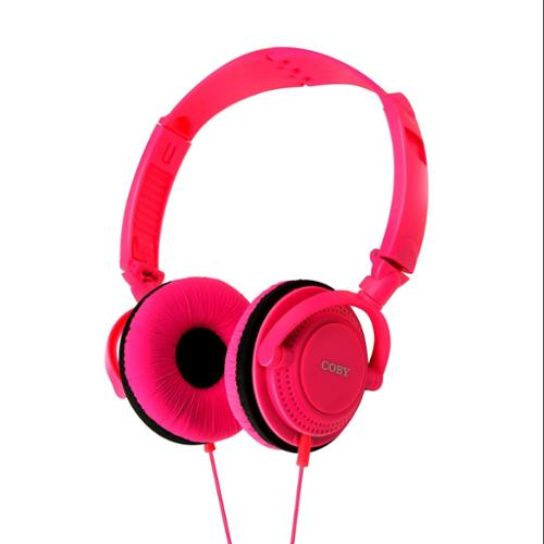 Coby CVH-806-PNK Twister Stereo Headphones with Built-In Mic, Pink