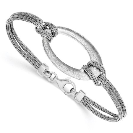 - 925 Sterling Silver Rhodium-plated Brushed Oval Mesh Knotted Bracelet