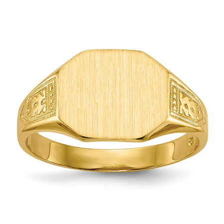 Solid 14k Yellow Gold Engravable Signet Ring (9.5mm) - Size (Engravable Birthstone Rings)
