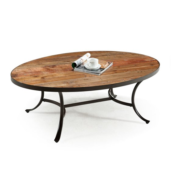 Rustic Wood Oval Coffee Table: Emerald Home Berkeley Rustic Wood Coffee Table With Oval