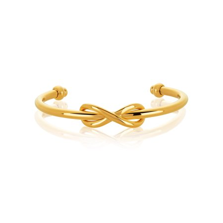 Gold Plated Stainless Steel Intertwined Infinity Cuff Bracelet