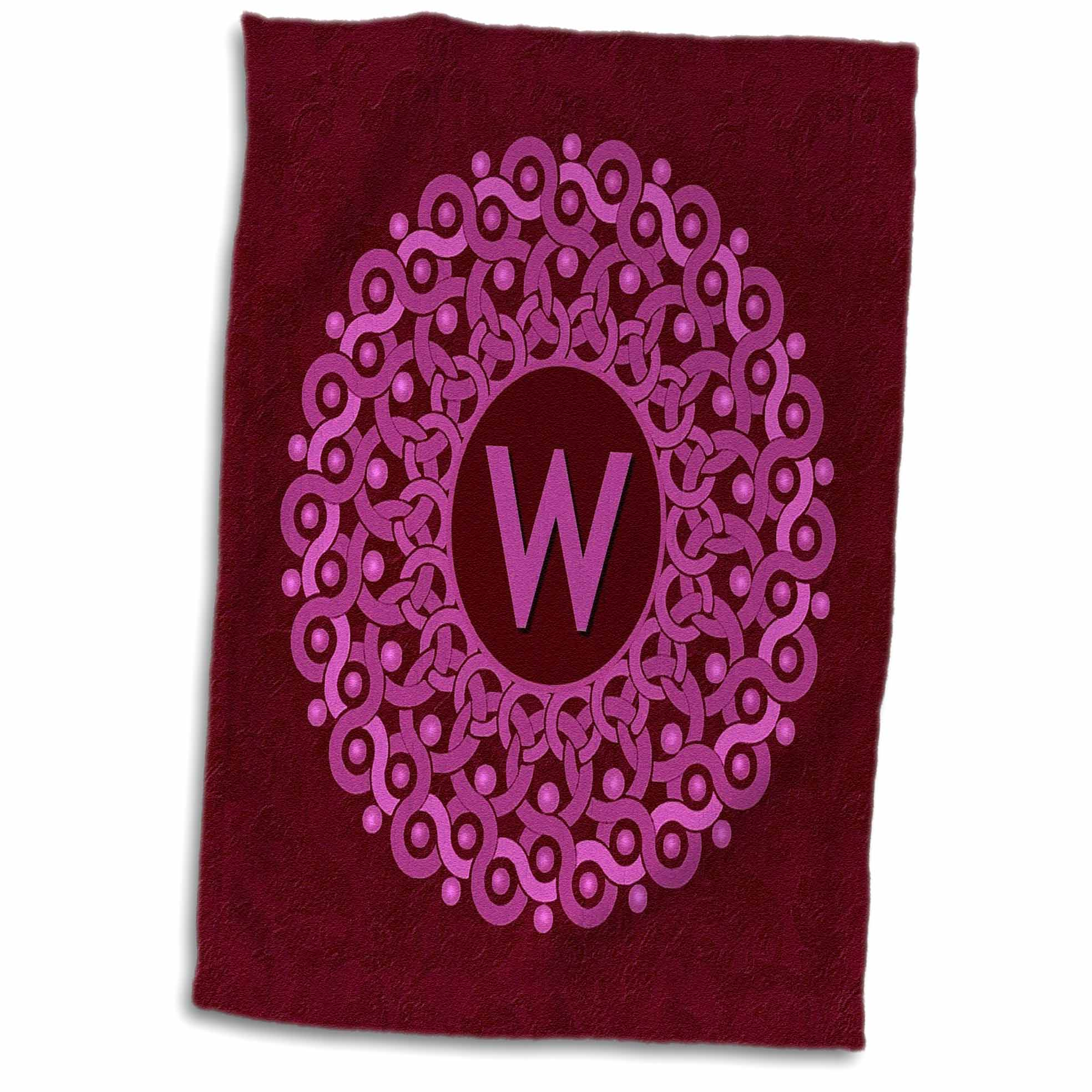 3dRose Monogram W pink and magenta mandala on rich wine red muted grunge damask - Towel, 15 by 22-inch