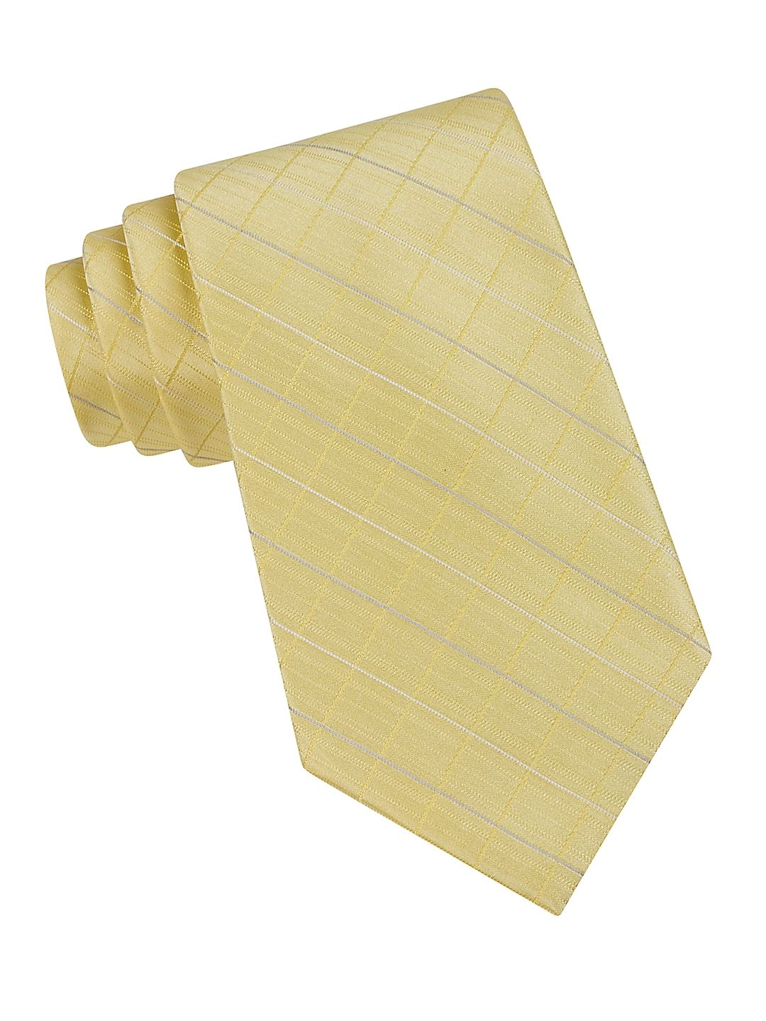 Classic Fit Etched Windowpane Plaid Silk Tie