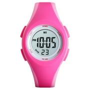 SKMEI 1459 Luminous 5ATM Waterproof Digital Children's Sports Watch Alarm Calendar Week Date Hour Wristwatch for Teenager with PU Strap Band