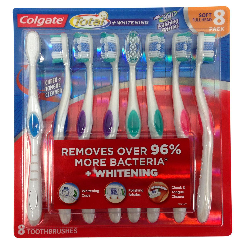 Colgate Total Whitening Toothbrush, Soft, 8 Ct