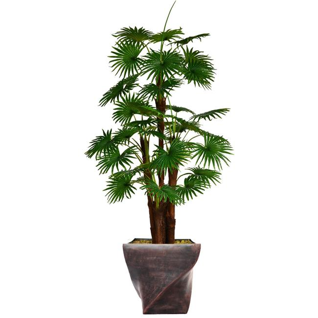 """75.5"""" Tall Fan Palm Tree Artificial Indoor/ Outdoor Décor Faux Burlap Kit and Fiberstone Planter By Minx NY"""