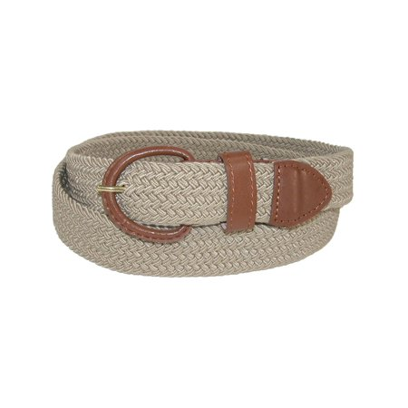Hickory Creek Size Large Mens Elastic 1 1/4 Inch Braided Stretch Belt, Tan