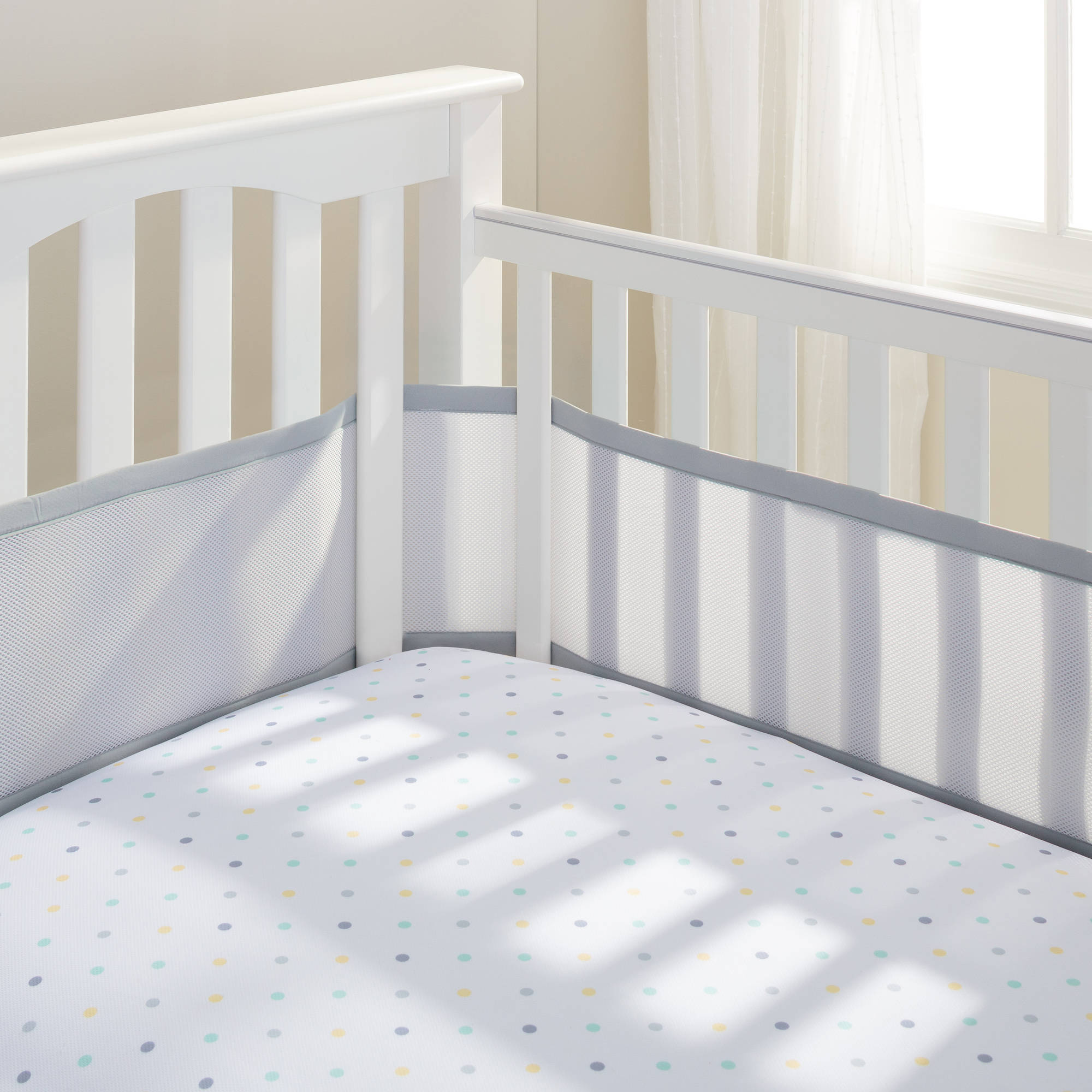 BreathableBaby Mesh Crib Liner, Gray