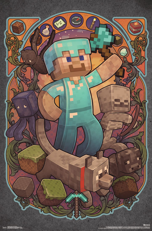"Minecraft Steve Nouveau Wall Poster 22.375"" x 34"" by Trends International"