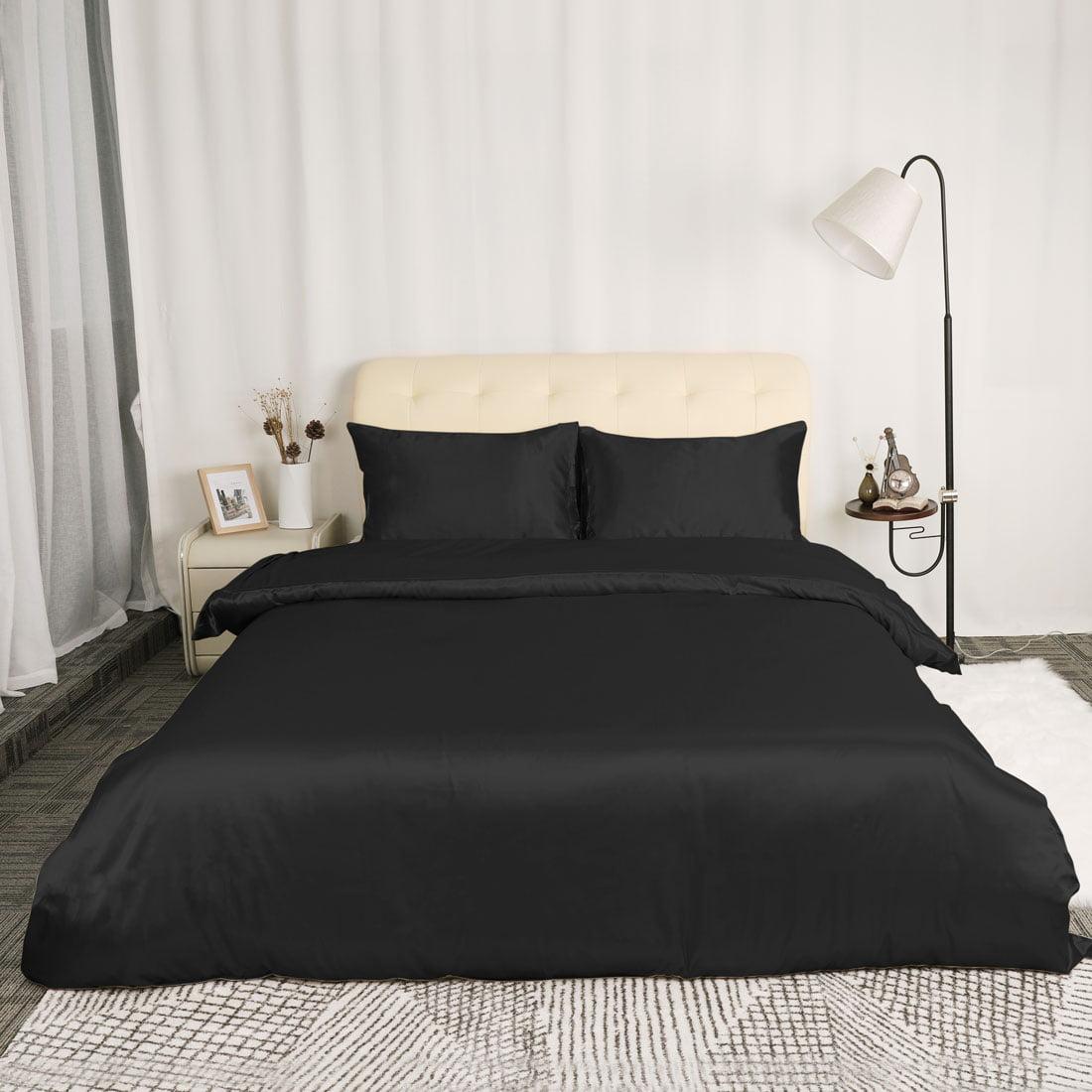 PiccoCasa Satin Silk Bedding Comforter Duvet Cover Pillowcases Set