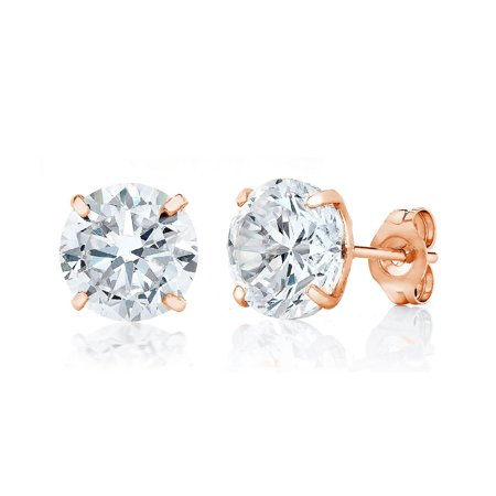 Jewelers 14K Rose Gold 7MM Round-Cut Stud Earrings made with Crystals Swarovski BOXED ()