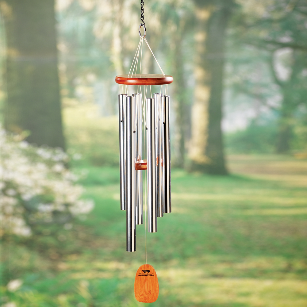 """Amazing Grace Aluminum /& Bamboo Wind Chimes Set of 2 25/"""" Outdoor Patio Décor"""