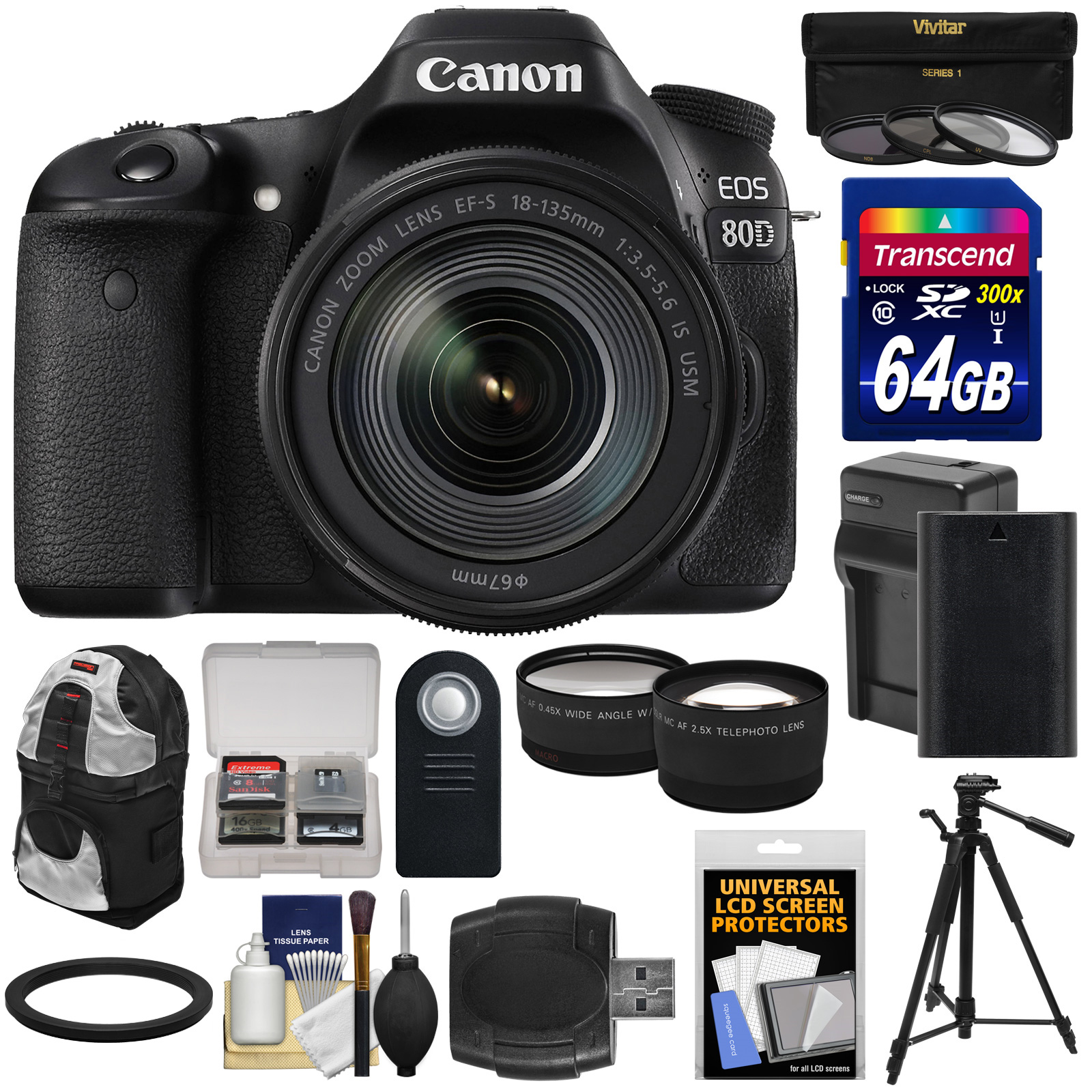 Canon EOS 80D Wi-Fi Digital SLR Camera & 18-135mm IS USM Lens with 64GB Card + Battery & Charger + Backpack + Tripod +... by Canon