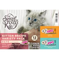 Special Kitty Kitten Recipe Pate Wet Cat Food Variety Pack, 12 Count