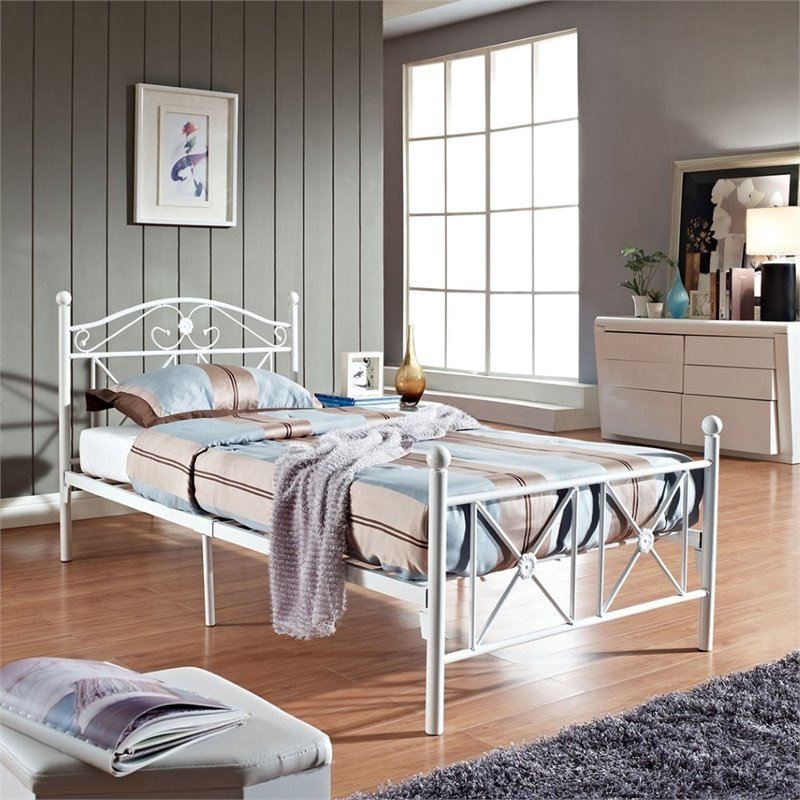 Modway Cottage Twin Bed with Tubular Iron Design in White