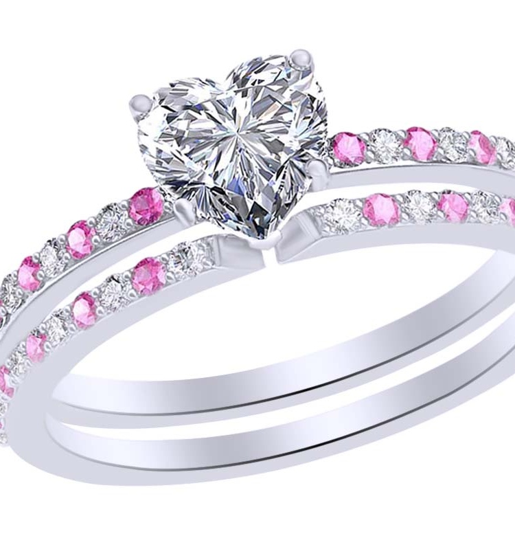 0.74 Ct Simulated Pink Tourmaline & White Natural Diamond Heart Wedding Band Ring Set in 14k White Gold Ring Size 9 by Jewel Zone US