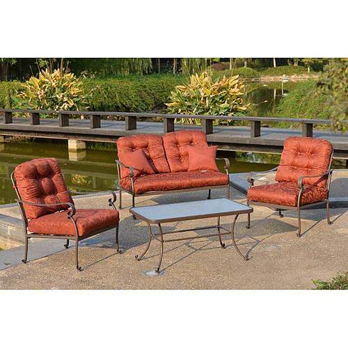 Mainstays Willow Springs 4-Piece Patio Conversation Set, Red, Seats 4
