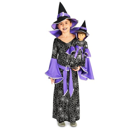 Spider Web Silver Printed Witch Costume with Matching 18 Doll Costume (Spider Web Witch Costume)