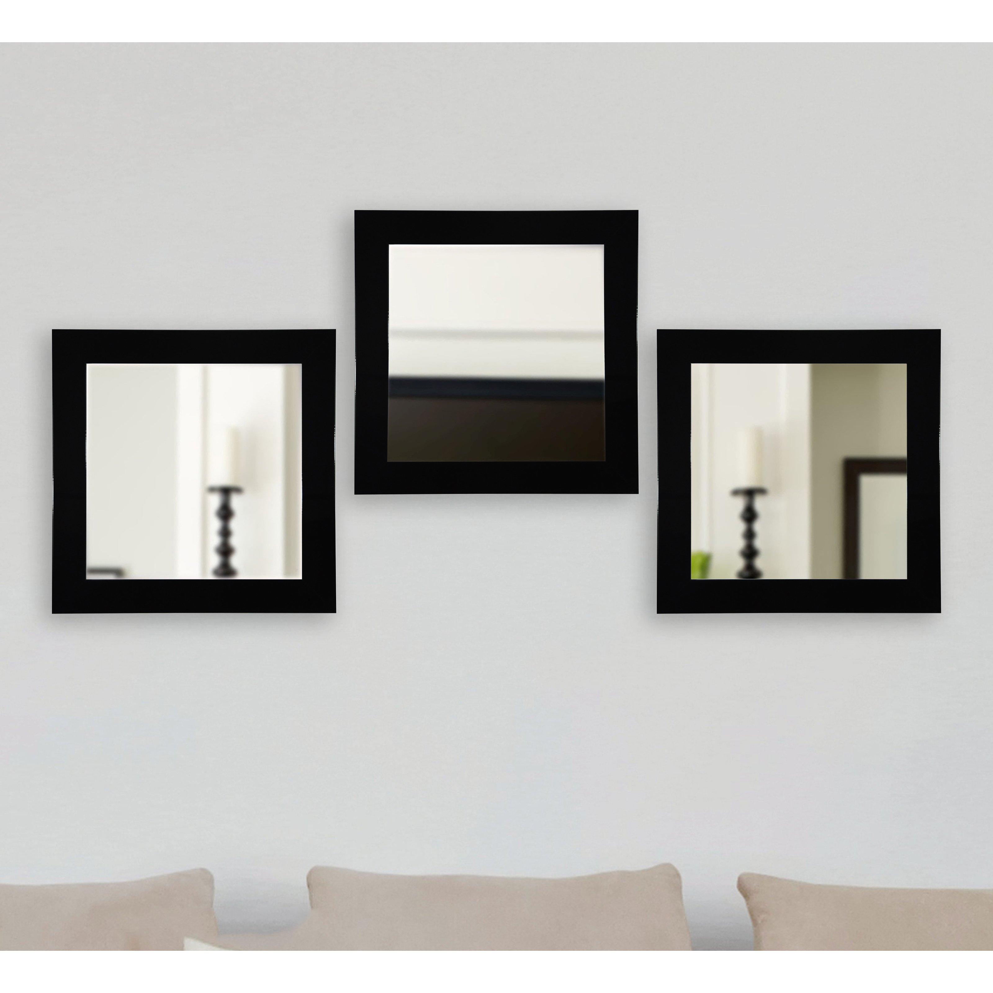 Wall Mirror Set Of 3 rayne mirrors delta square wall mirror - set of 3 - walmart