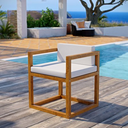 Newbury Accent Outdoor Patio Premium Grade A Teak Wood Armchair in Natural White