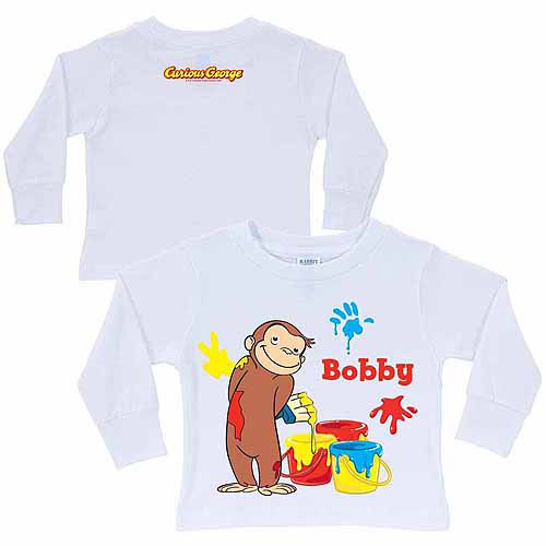 Personalized Curious George Painting Fun Kid's White Long Sleeve Tee